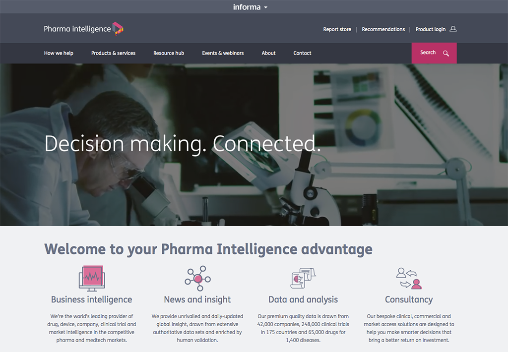 pharmaintelligence.informa.com website screenshot